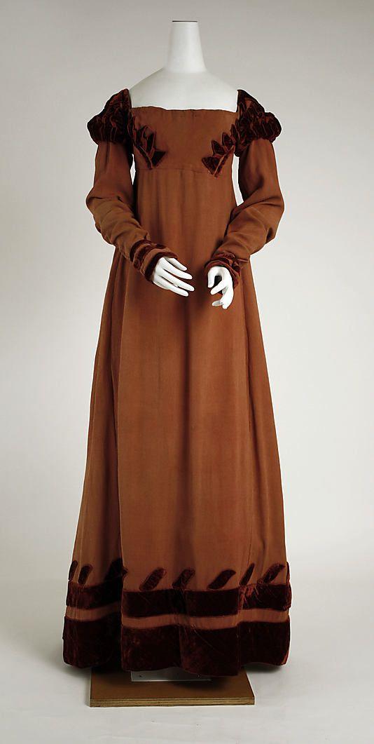 1818 British silk dress, via Metropolitan Museum of Art.