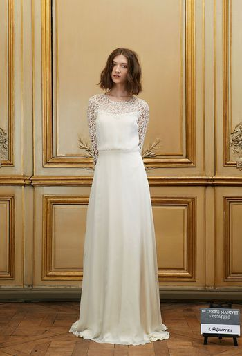 Robe Mariée, manches longues, Tsniout Mariage Juif | Jewish modest wedding dress| Delphine Manivet