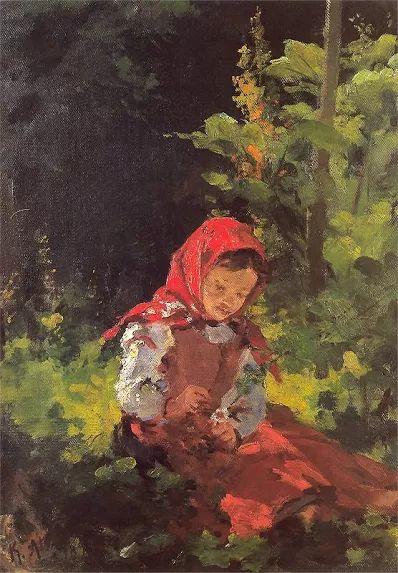 Dziewczynka w lesie  Kazimierz Alchimowicz  Olej na płótnie. 34 x 31,5 cm. - 1893.   Muzeum Narodowe w Warszawie.