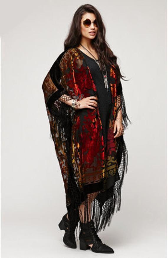 85e851c4a Floral Brocade Velvet Burnout Gypsy Fringe Kimono in 2019   Style ...
