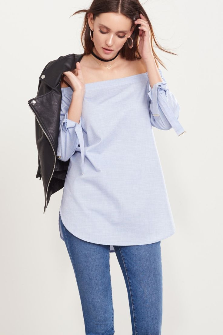 Tie it with a bow Off-The-Shoulder Tunic with Tied Sleeves