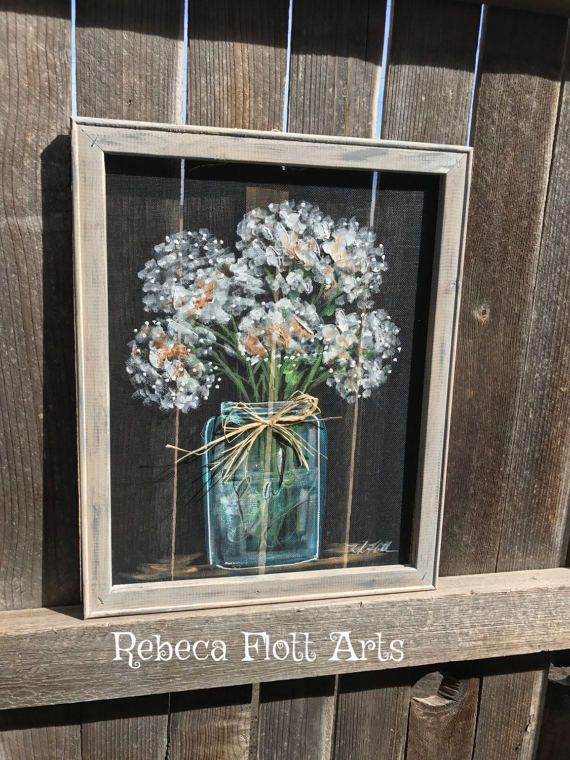 Baby breath in mason jar  rustic hand painted on window