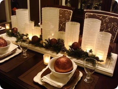 Table decor  http://www.sheknows.com/food-and-recipes/articles/819033/Holiday-table-5-Holiday-tablescapes-we-love