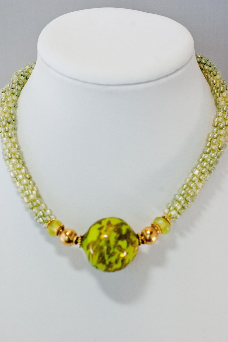 Kumihimo rope with lampwork focal Planet Greening necklace