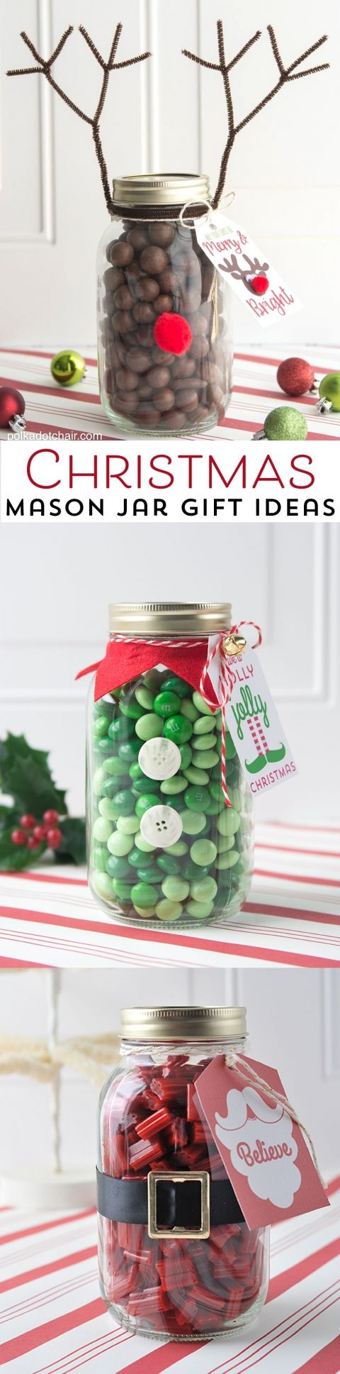 Reindeer Mason Jar Christmas Gift idea, so cute and easy. Would make a fun neighbor or teacher gift!: