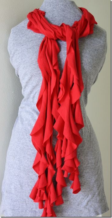 3-4 different no sew scarfs made out of tshirts: ruffle scarf out