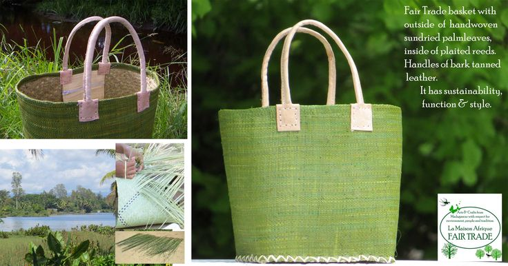 Green is Good. Fair Trade basket with outside of handwoven sundried raffia palmleaves, inside of plaited reeds. How the reeds grow, is sundried and plaited is shown to the left. More about on: http://la-maison-afrique.se/fair_trade/bags-vaskor/shopping-basket-pinic-basket-shoppingkorg-utflyktskorg/212-shoppingbasket