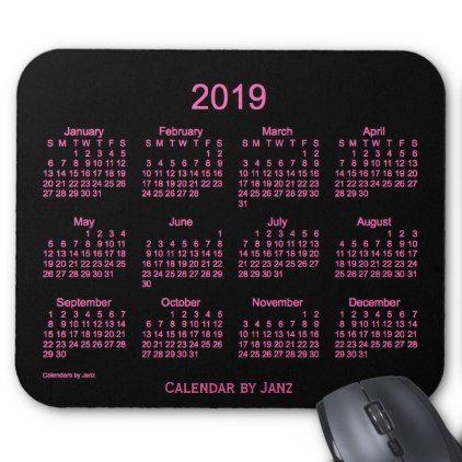 2019 Neon Pink Calendar by Janz Mouse Pad - birthday diy gift present custom ideas