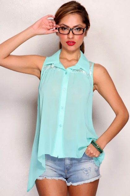 Mint Sheer Chiffon Collar Lace Mesh Button Up Chic Top I recently got a shirt similar to this from Burlington Coat Factory. Wish I could find it online.