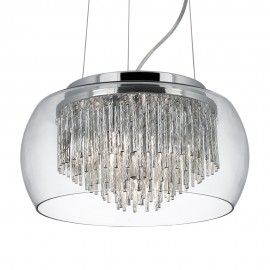 Clear Glass Shade 4 Light Pendant With Aluminium Spiral Tubes 35cm £153.60