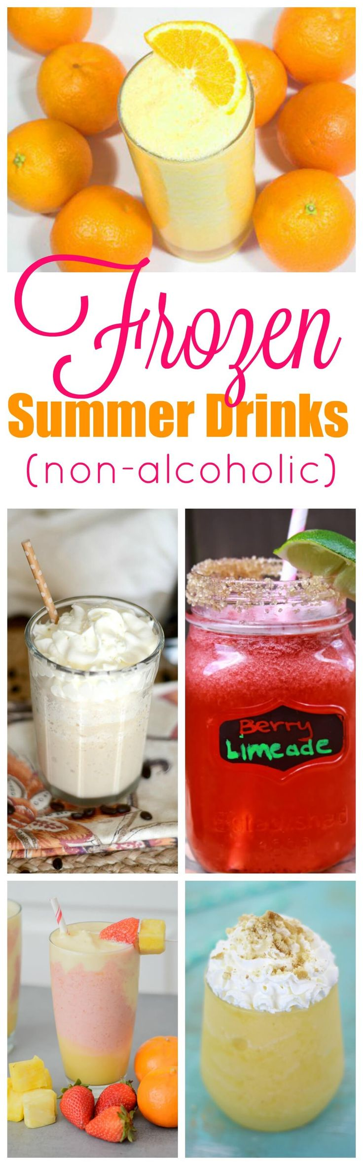 Summer is almost here and one of the best ways to beat the heat is with yummy Frozen Summer Drinks. All of the treats here don't have any alcohol, so make up a big batch and share with your guests of all ages.