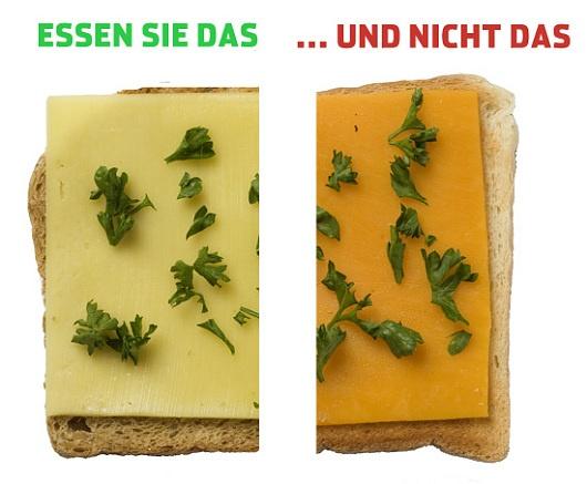 Butterkäse enthält weniger Fett als Cheddar Käse