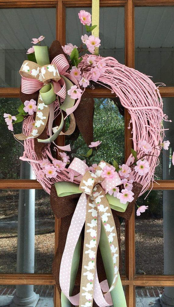 Easter Pink Painted Grapevine Wreath / by SouthernWhimsyStyle