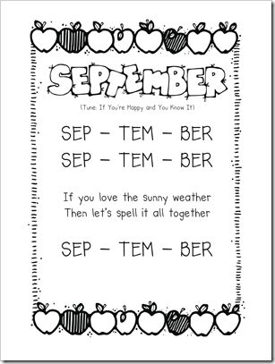This blog has songs for each month.  These would be cute for our Song and Poetry Folders.