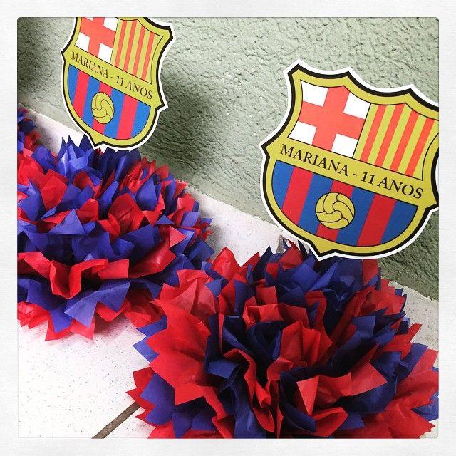 Centro de mesa do Barcelona para festa de 11 anos da Mariana! #centrodemesa #barcelona #personalizados #ratchimbum #loja #novaodessa