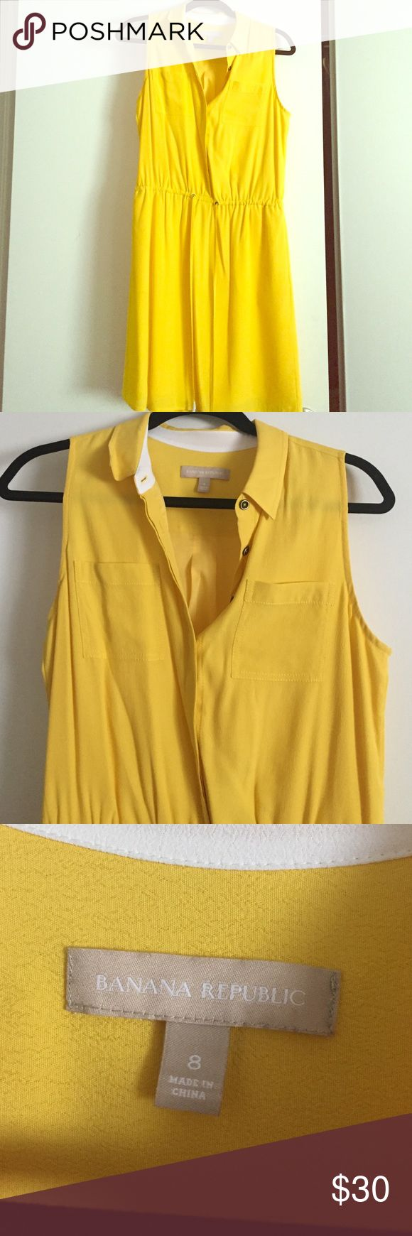 Lightweight sleeveless yellow BR dress Light and sleeveless yellow dress with a white trimmed collar, drawstring on the waist with pockets. Great for work that you can accessorize with a blazer and wedges or heels...you can even wear on a shopping trip on the weekend or to a party! Worn only once and is ready to make a home in a new closet 🤗 Banana Republic Dresses
