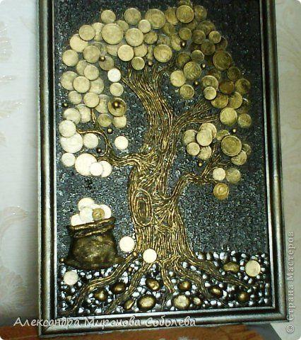 Картина панно рисунок Моя первая картина  Гипс Картон Клей Краска Монета Салфетки Скорлупа яичная фото 1