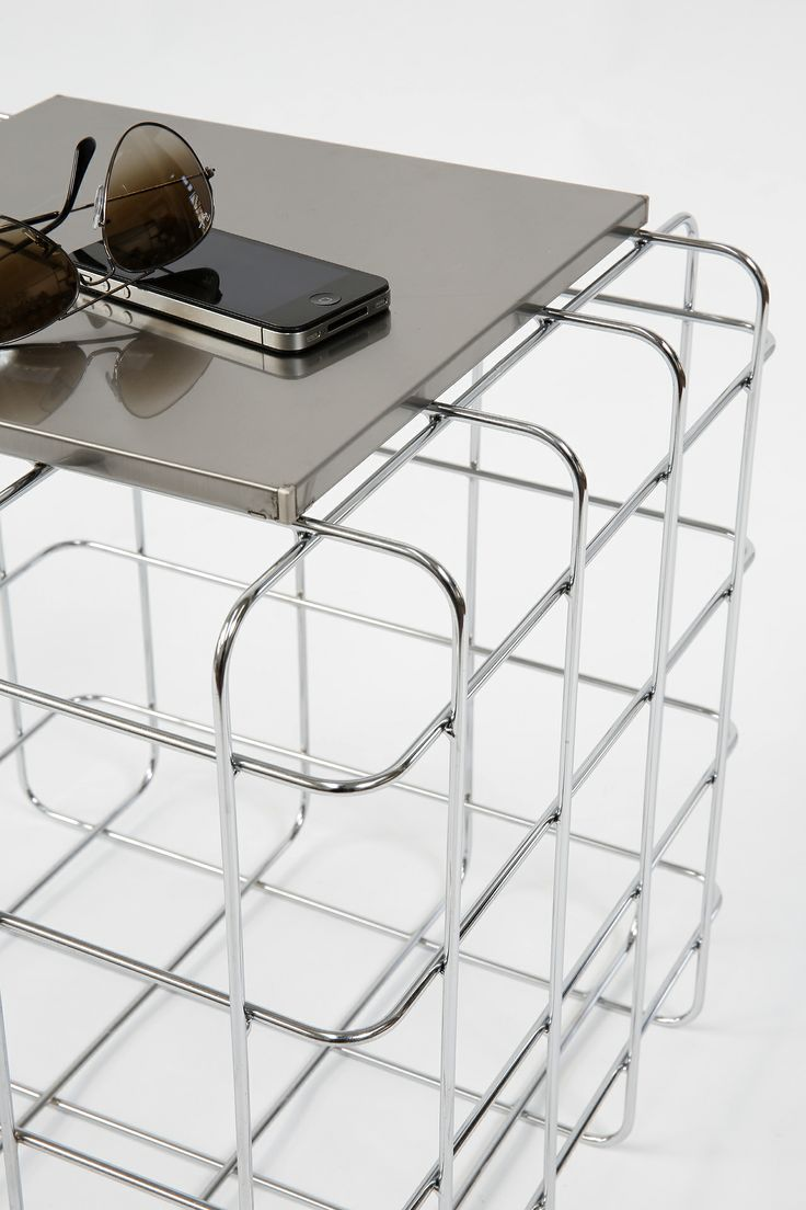 Wire by Ronda Design, design Luca Roccadadria #Design wire #coffeetable (detail) #steel #furniture Colors available: chromed, red, orange, green and blue.