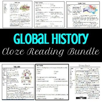 This bundle includes 40 pages of Global History cloze readings with multiple choice questions! These readings can be assigned in replace of notes, as classwork, or to reinforce material. The options are endless!
