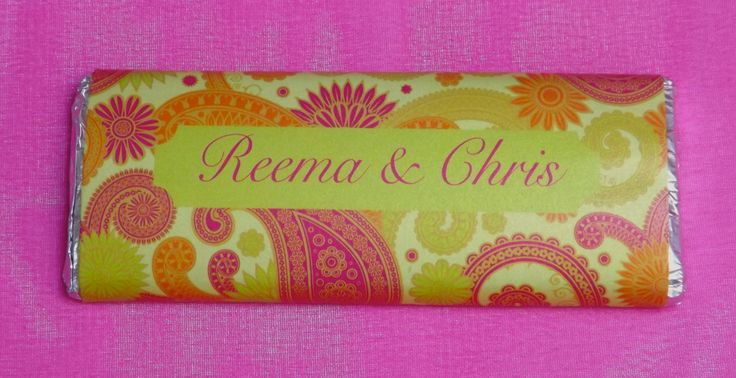 Why not treat your guests to peraonlsised chocolate bars.  We can write a special message on the back for you.  Milk chocolate chocolate bars make great wedding favours.  These are great for Asian wedding or celebration favours  from www.fuschiadesigns.co.uk