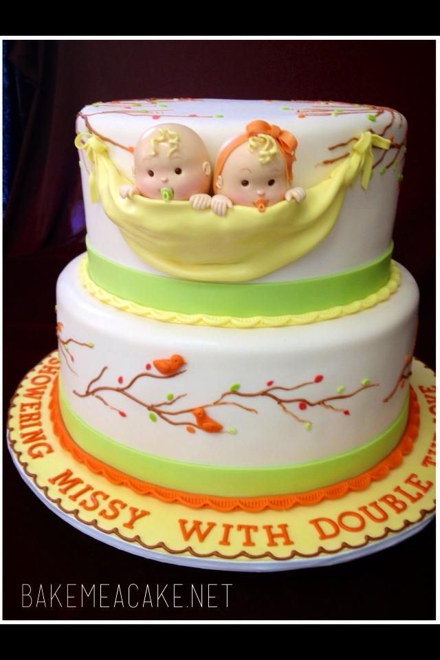 Twin Baby Shower cake                                                                                                                                                                                 More