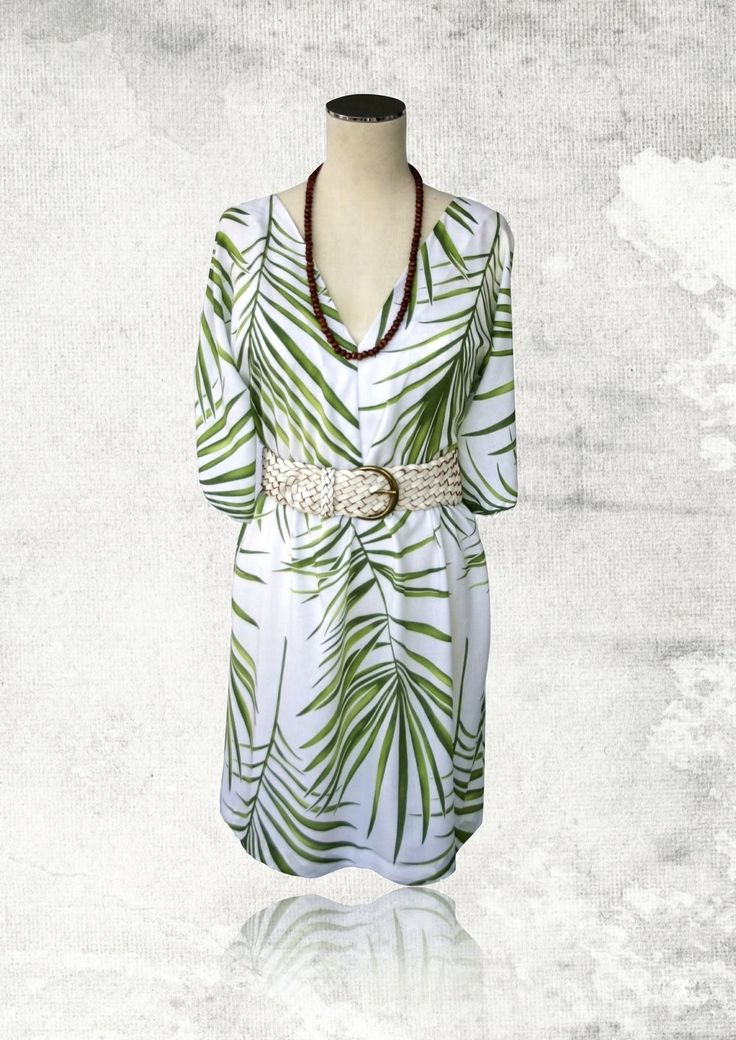 Lilly Kimono Dress Green Leaves
