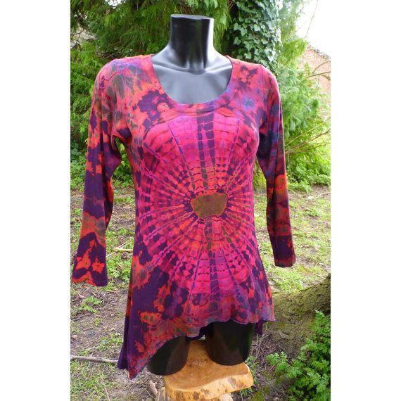Tie dye jurk, tie dye top, roze tie dye, asymmetrische jurk, tie dye kleding, festival kleding, bohemian jurkje, vrij groot, met de hand geverfd
