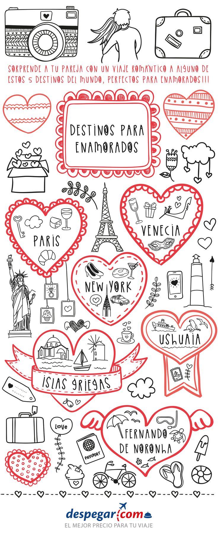 #Infografías #Destinos para #enamorados. #Viajes en #PAREJA con #Despegar Infographic