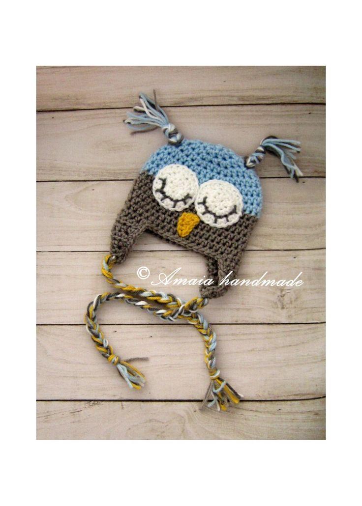 Owl hat, Baby owl hat, crochet owl hat, owl beanie, sleepy owl hat, infant owl hat, newborn owl hat, baby girl owl hat, baby boy owl hat by Amaiahandmade on Etsy