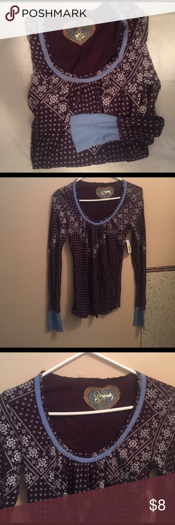 NWT scrapbook purple thermal trendy l/s tee med NWT purchased at Dillards never worn. Please ask all questions prior to purchasing I'm open to all reasonable offers. ScrapBook Tops Tees - Long Sleeve