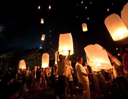 Vesak day (Buddha's day) on May 6 2012 in Magelang, Central Java, Indonesia. 1000 lantern lite up the western Borobudur temple on that night. Amazing. Sabbe satta sukhi hontu - lokashanti.