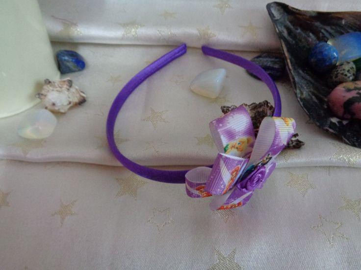Purple satin headband with handmade fairy bow. by Howittsmade on Etsy