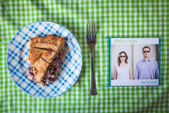Blueberry Rhubarb Sour Cream Pie and Jenny & Cary's Wedding on a Farm - Eat The Love