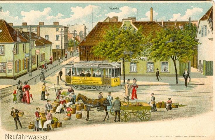 Rynek w Nowym Porcie na pocztówce z roku 1900, dzieło gdańskiego uczonego Samuela Fryderyka Willenberga / New Port's market in year 1900. Author: Samuel Fryderyk Willenberg | #gdansk #postcard