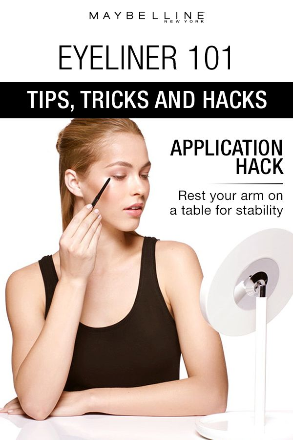 This eyeliner application hack shows you how to clean, sleek cat eye by resting your arm on a table to stabilize it. Click through for more eyeliner makeup 101 tips, tricks and hacks for beauty beginners by Maybelline.