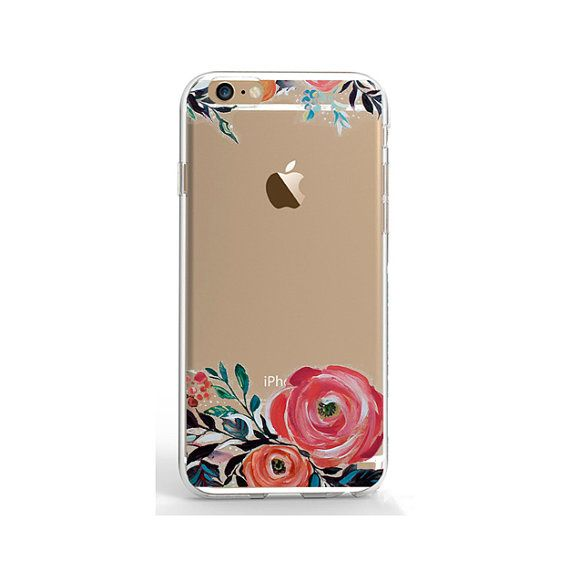 10.90 USD Clear iPhone 5 case flower phone case transparent iPhone SE case iPhone 6 Plus case iPhone 5/5s cover Samsung Galaxy S4 S5 S6 cover