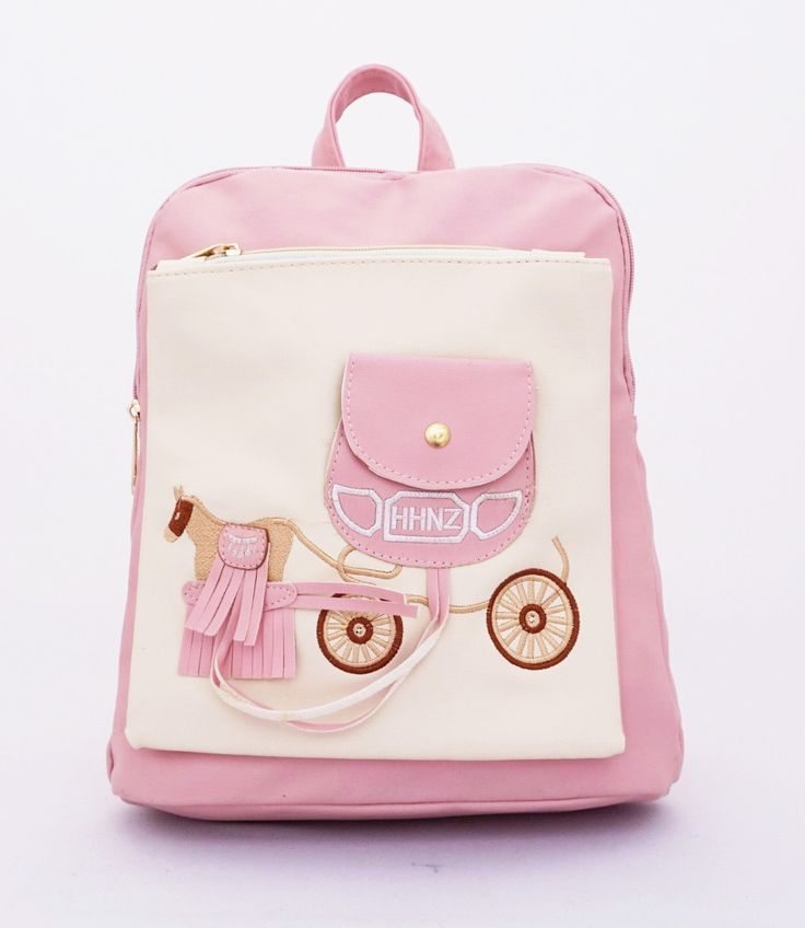 Cinderella backpack series, motif ransel kereta kuda cinderella. Ransel stylish dan berkualitas. Warna pink. Uk 29x13x32