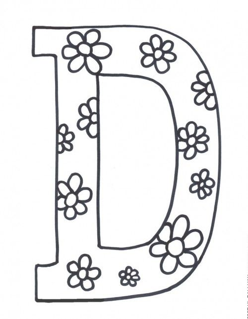 letter d is for flowers coloring page