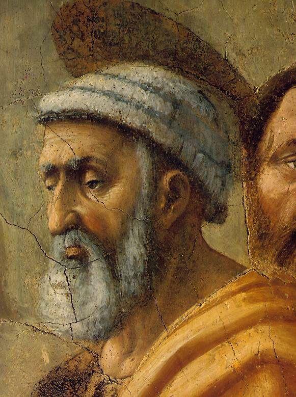 Brancacci Chapel - Florence. Мазаччо - большую художественную инновацию можно увидеть в лице Святого Петра: Свет и тень эффекты создают впечатление трехмерности.