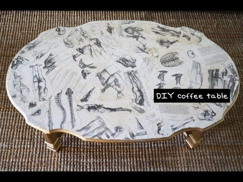 Learn how to quickly and easily transform a table-top using modge podge or glue and pages from an old book to spruce up the design of your interior space.   Mr. Kate shows you step by step how to get a funky, vintage inspired wood coffee table in this interior design geared video. She used human figure sketches from an art book and gold spray pai...