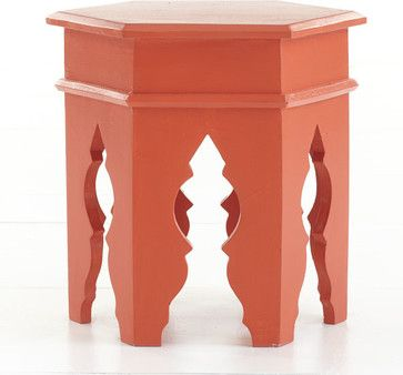 Moroccan Stool, Poppy Red - mediterranean - side tables and accent tables - Wisteria