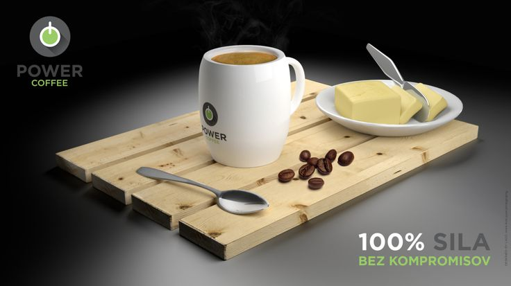 Power Coffee - advertisement banner, created purely by 3D software rendering and Photoshop