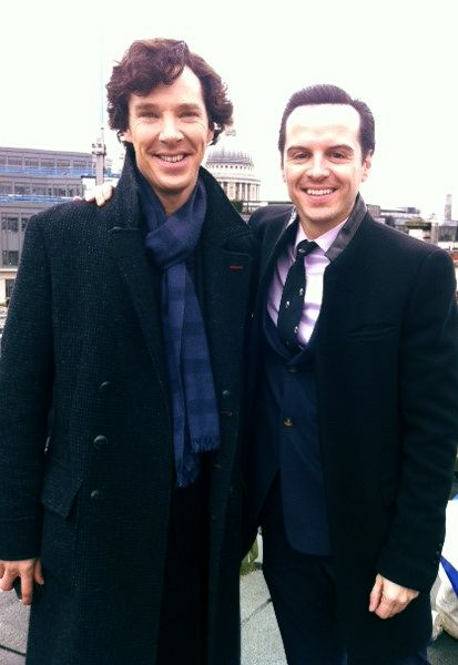 Benedict Cumberbatch and Andrew Scott all smiles on the set