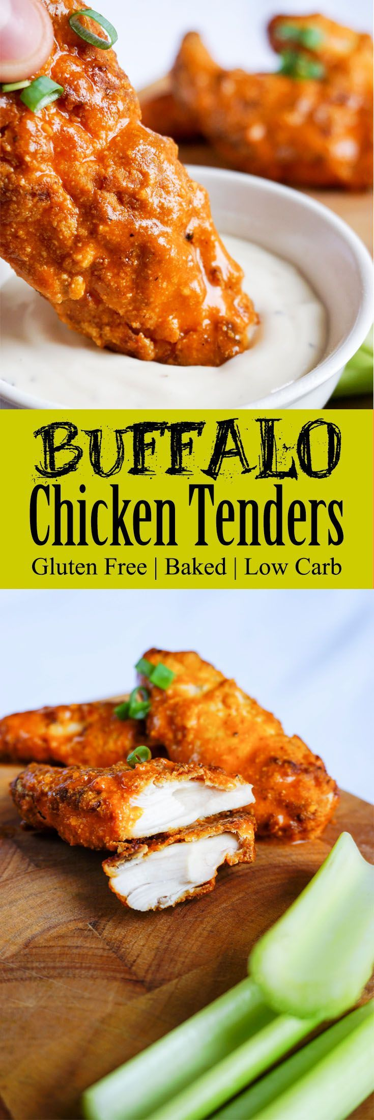 Keto Chicken Tenders Dipped in Tangy Buffalo Sauce
