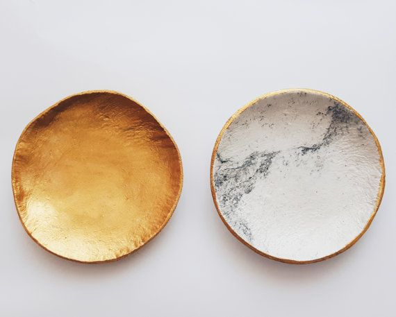 SUN & MOON 2 ring dishes ring bowl jewelry storage ring plates golden edge…