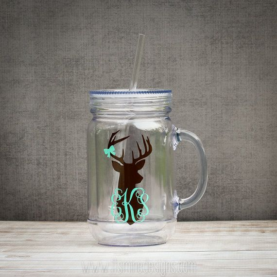 "Monogram Deer Mason Jar - your choice of colors and tumbler styles (mason jar, ""Tervis"" style, wine, or straw tumbler)."