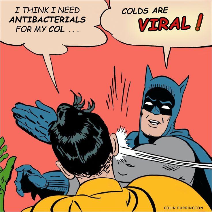 Cartoon image of Batman slapping robin for thinking antibacterials can treat common cold