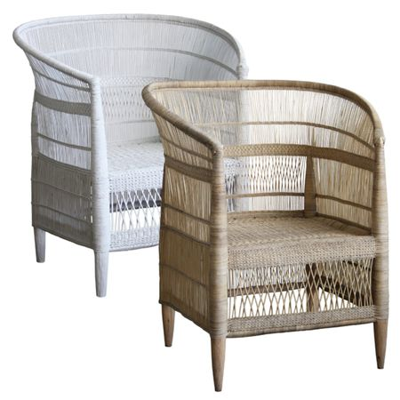 I love these chairs. The perfect marriage between African and coastal. White or natural would both work. Shop around for best price. Place one in each corner of the Master Bed looking back to the bed.