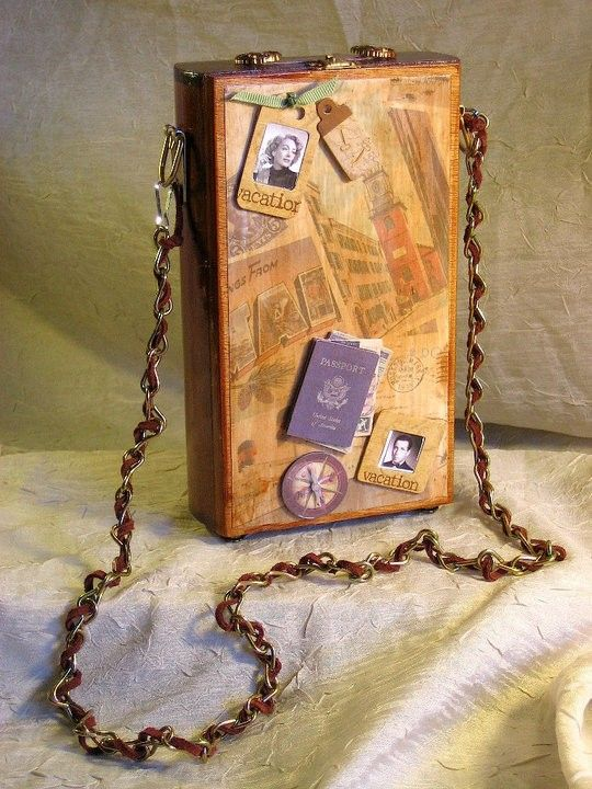 Voyage On the Orient Express - Cigar Box purse/box  Like idea of movie/tv themed story displays. Great Gatsby..Downton Abby