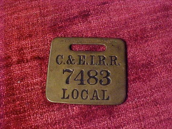 C&EI Railroad Baggage Claim Tag Brass Local by UtterClutter1973